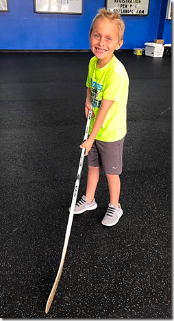 Landon with Hockey Stick
