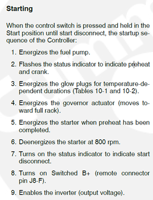 Generator Start Sequence