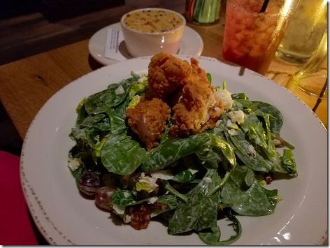 Whiskey Cake Crispy Fried Chicken Salad and Mac N Cheese
