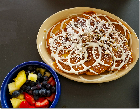 Snooze Pumpkin Pancakes and Fruit